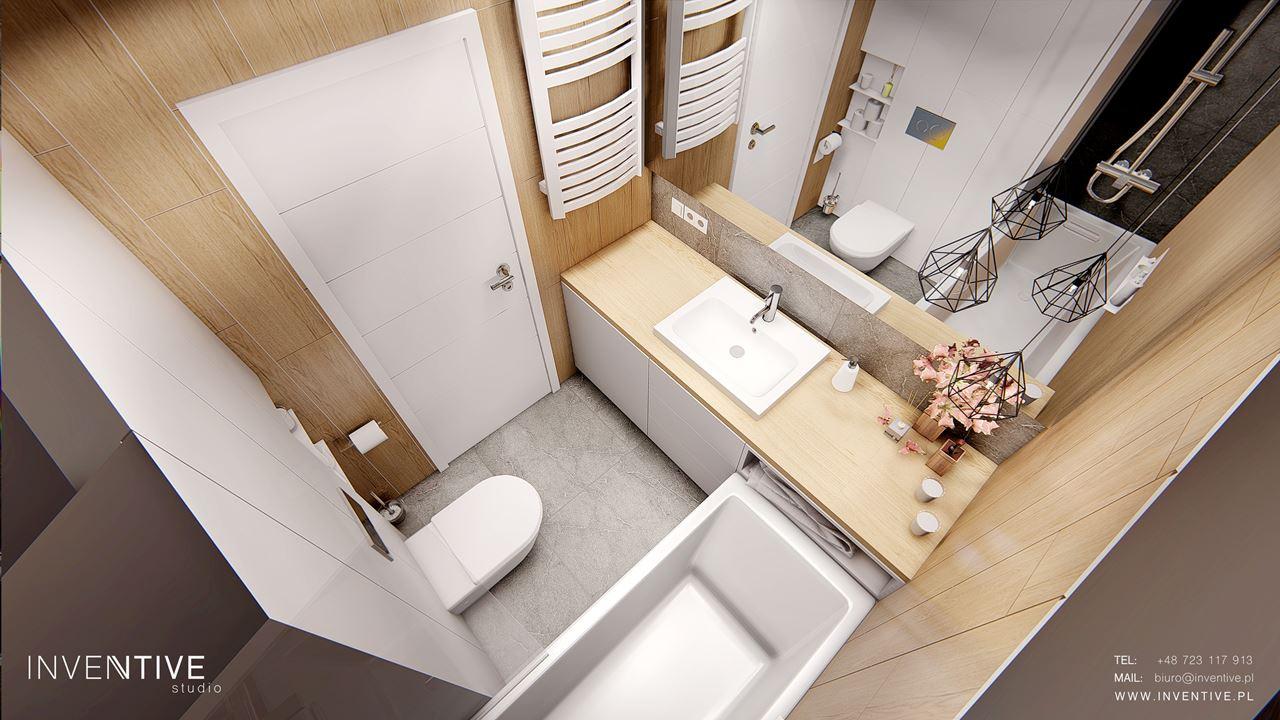 Mała łazienka  w stylu scandi