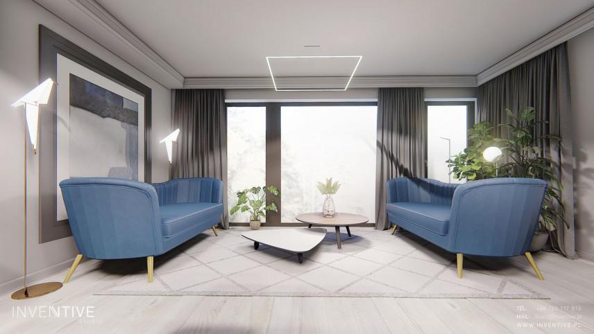 Salon z niebieskimi sofami