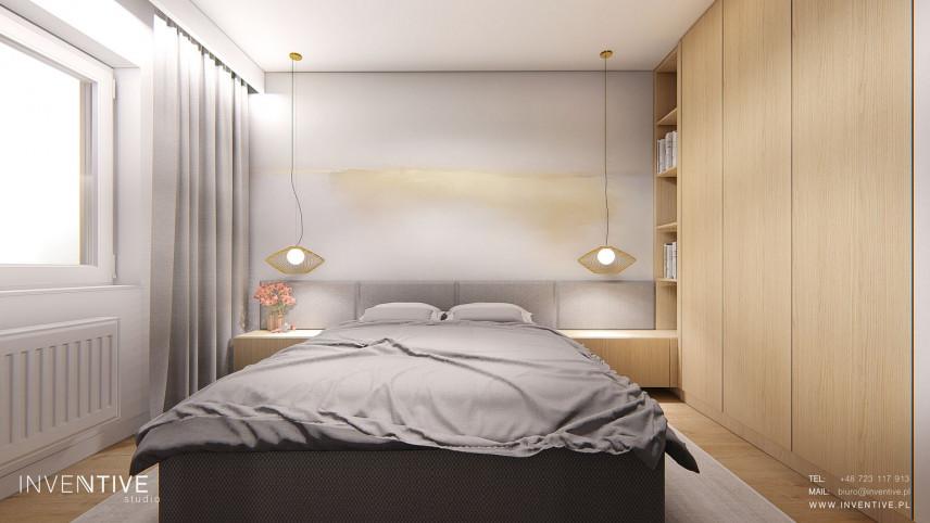 Sypialnia z designerską ścianą
