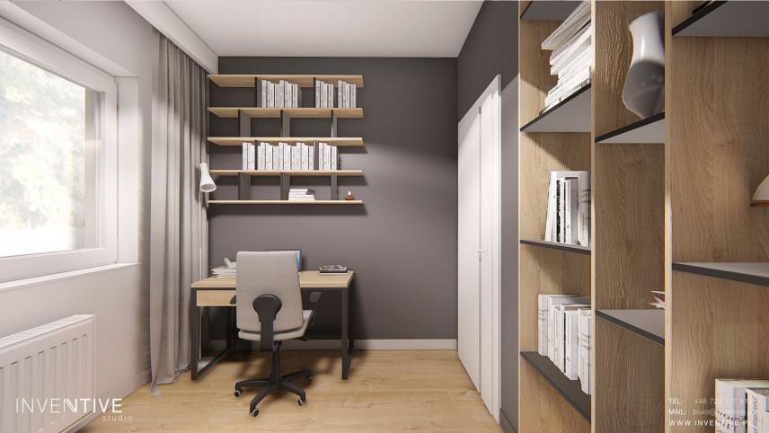 Szaro-drewniane biuro