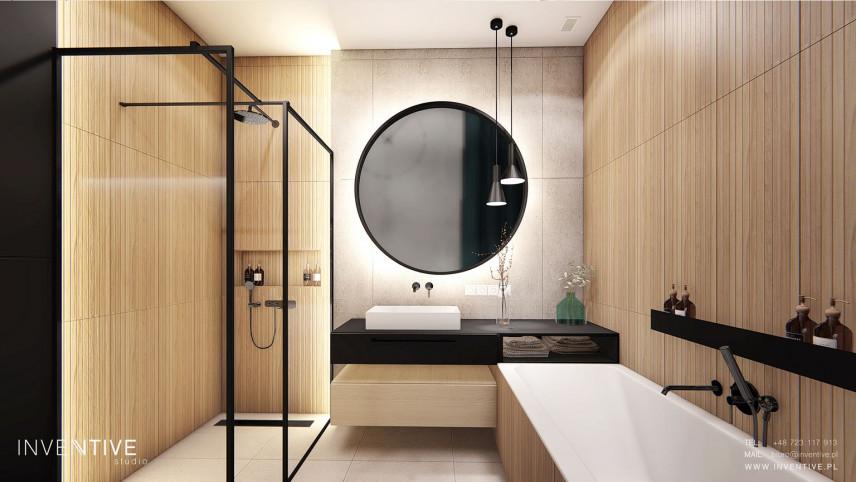 Stylowa łazienka z prysznicem typu walk-in