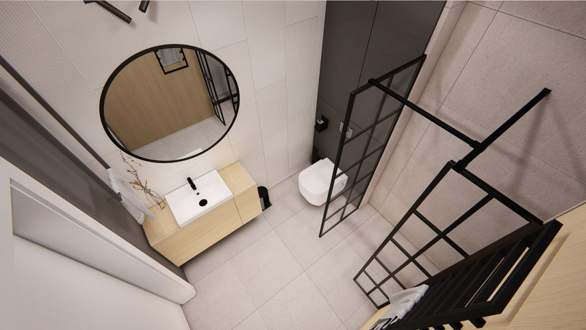 Łazienka w stylu loft rzut z góry