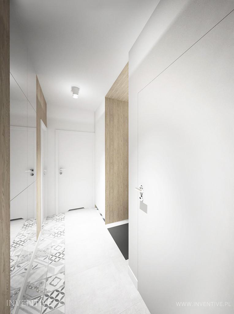 Jasny korytarz z szafą z lustrami
