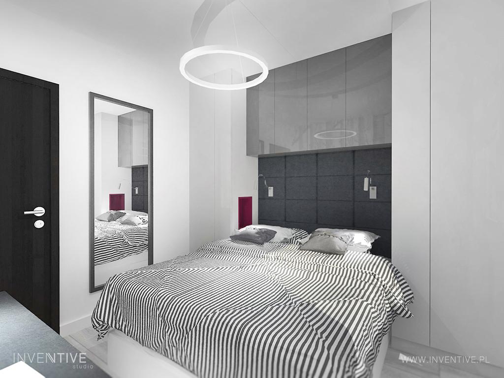 Mała sypialnia w kolorze grafitowo-białym