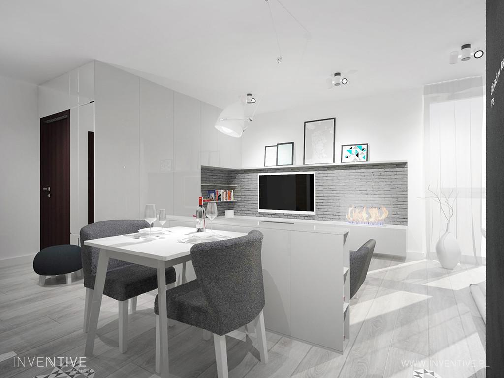 Salon  z jadalnią w kolorze białym
