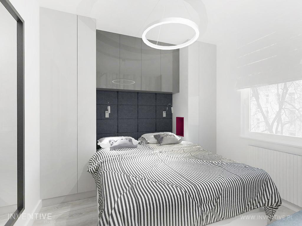 Mała sypialnia w kolorze szaro-białym