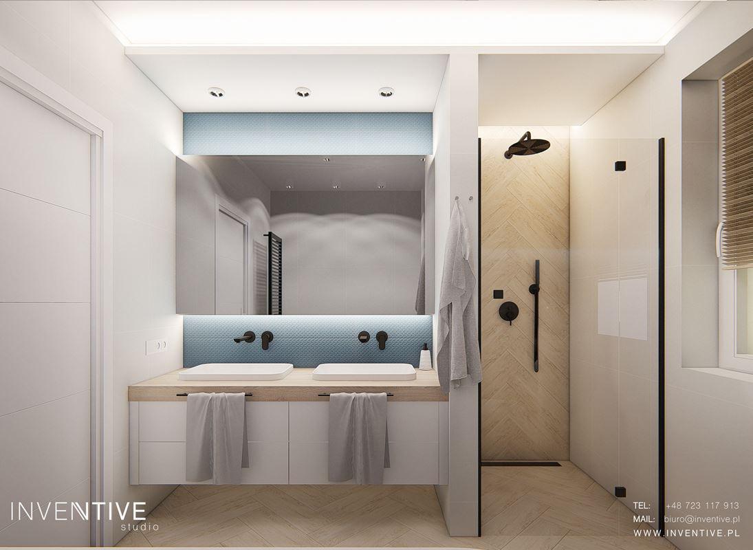 Nowoczesna łazienka z prysznicem typu walk-in