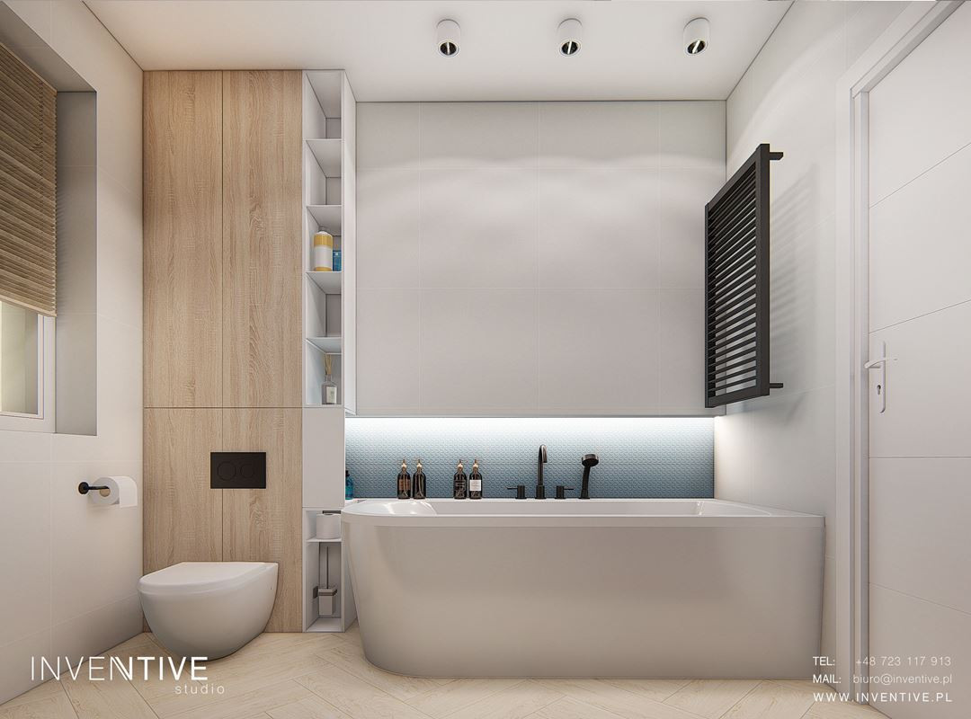 Stylowa łazienka z ledowym podświetleniem nad wanną