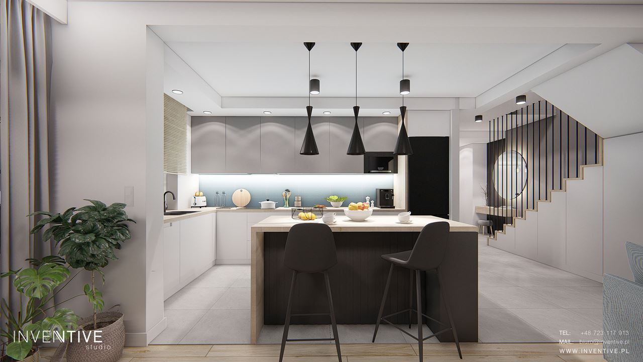 Otwarta kuchnia z wyspą w minimalistycznym stylu