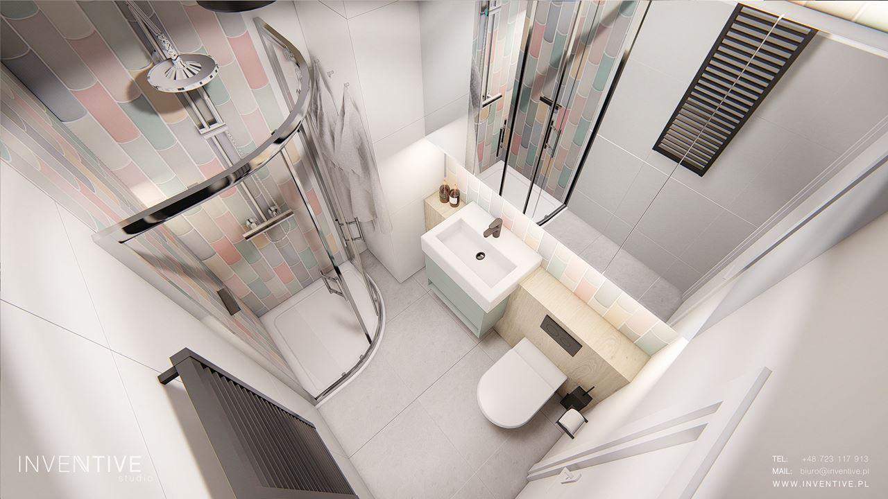 Mała łazienka - rzut z góry