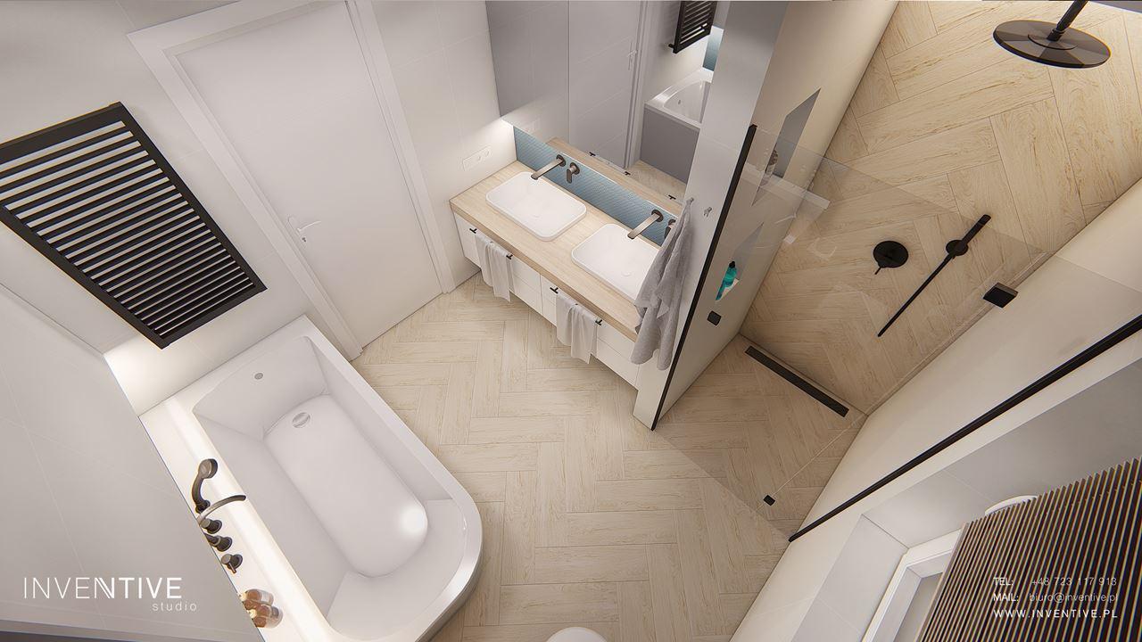 Łazienka z wanną i prysznicem - rzut z góry