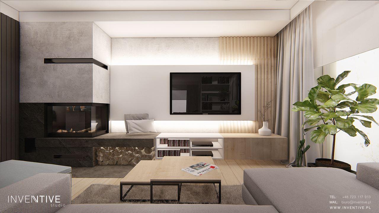 Salon ze ścianą z telewizorem