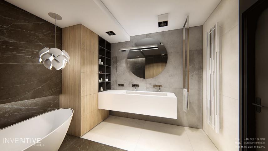 Szaro-beżowa łazienka w stylu loft