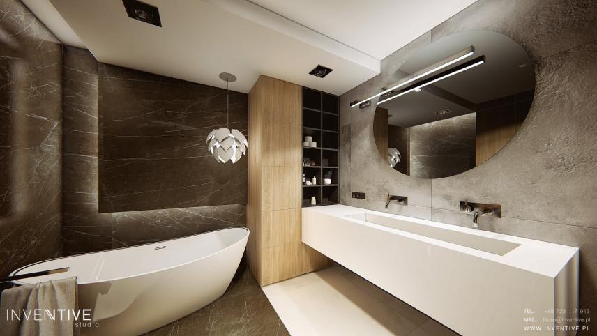 Stylowa łazienka z marmurem i betonem na ścianie