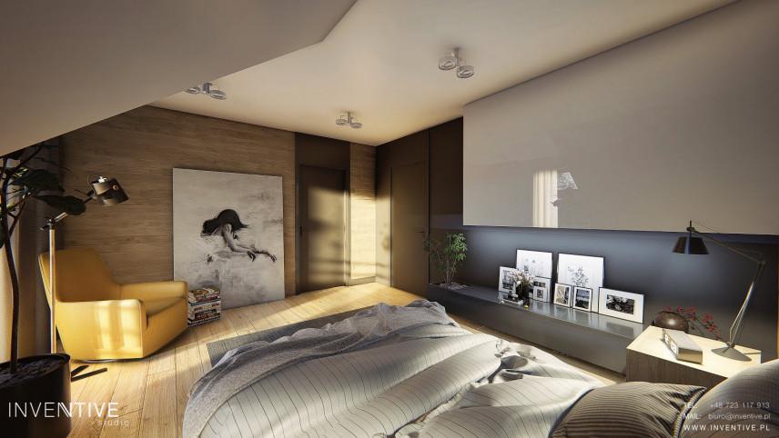 Sypialnia na poddaszu w nowoczesnym stylu loft