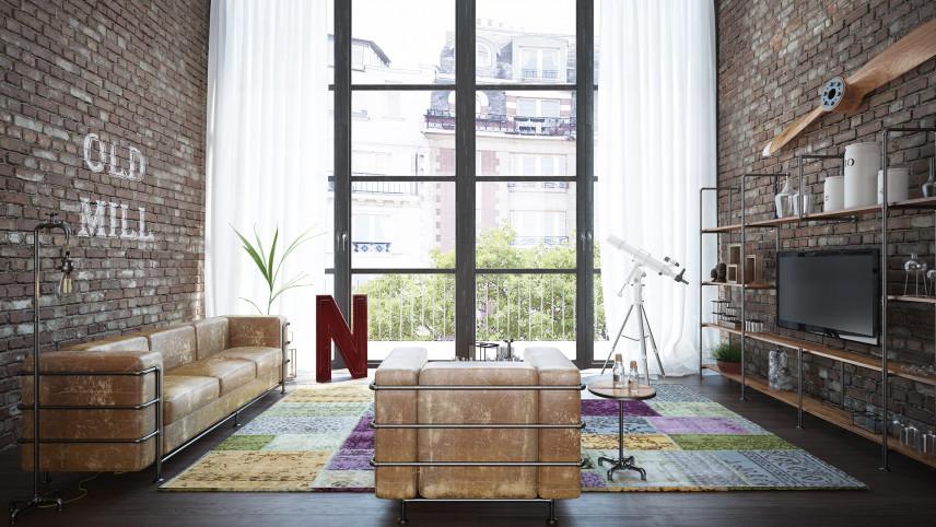 Salon z cegłą w stylu loft