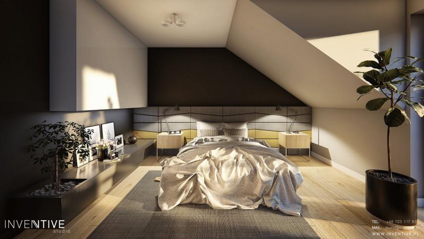 Sypialnia ze skosami w stylu loft