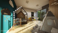 Pokój dziecięcy z łóżkiem w kształcie domku