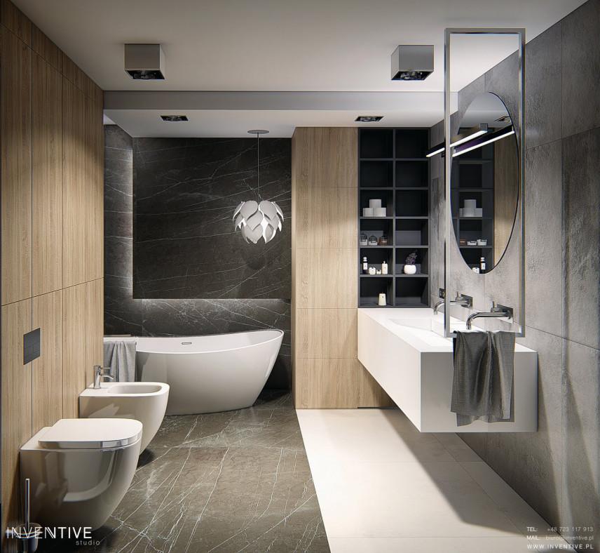 Stylowa loftowa łazienka w szarościach