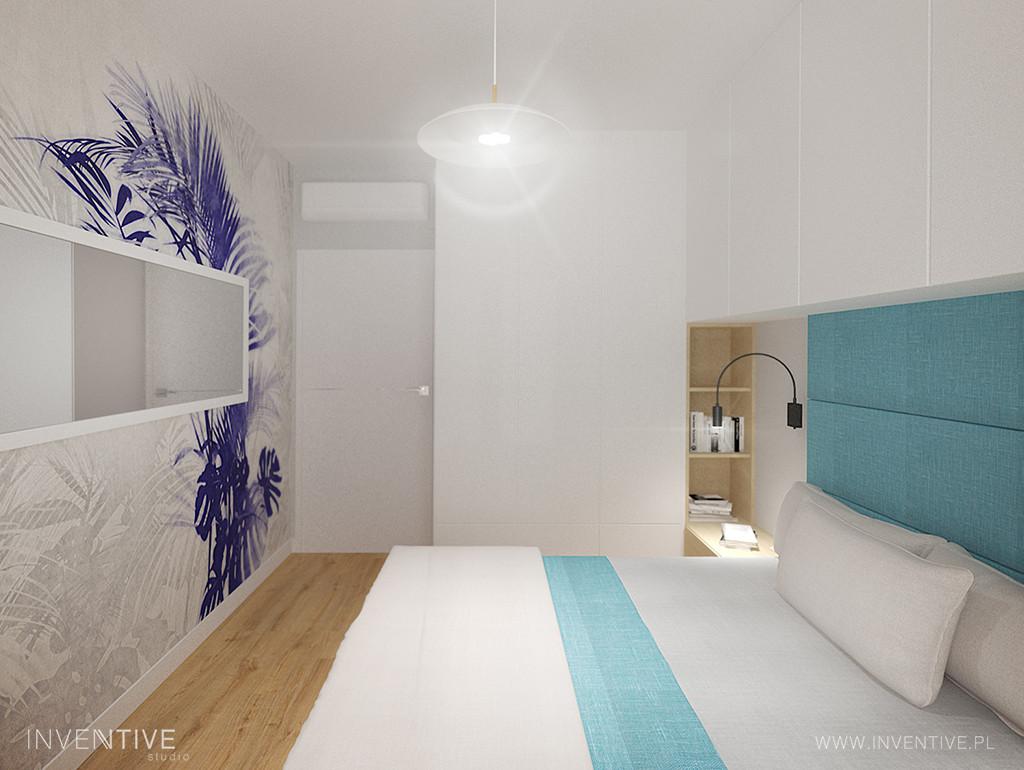Biała sypialnia z łóżkiem z zagłówkiem