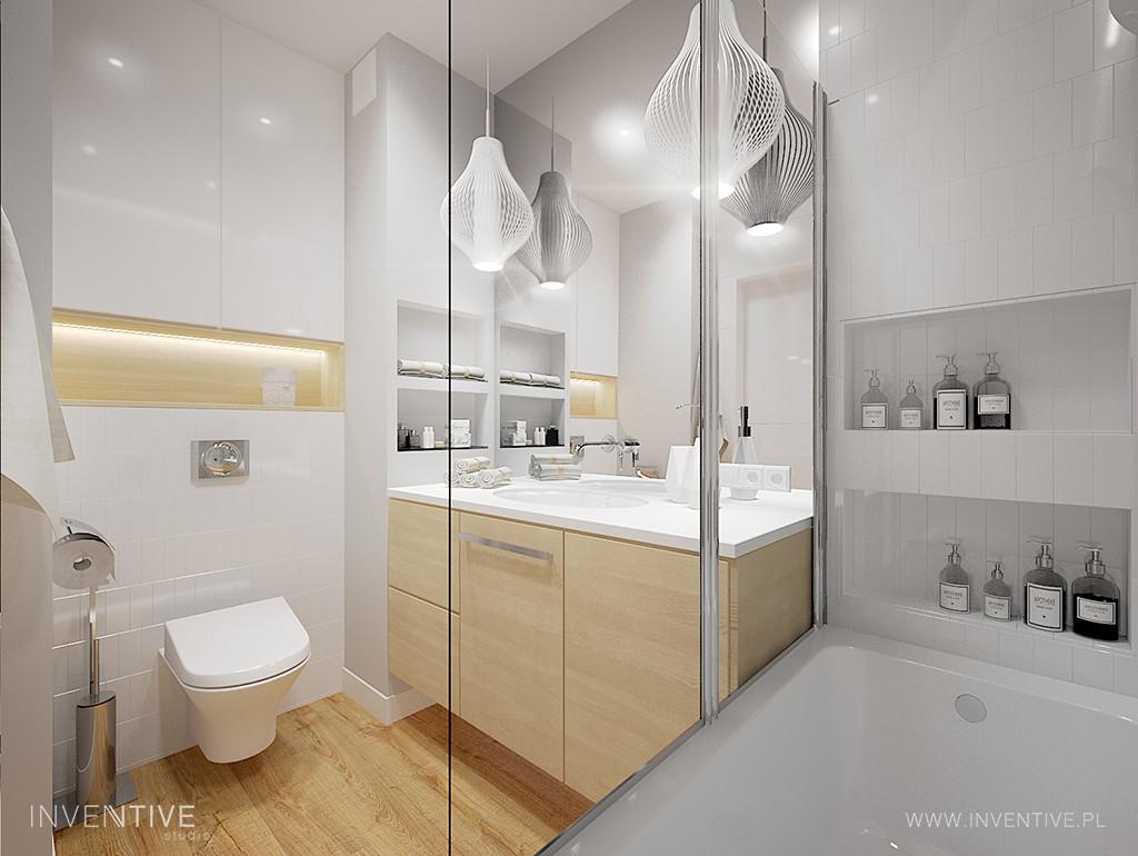 Łazienka z elementami imitującymi drewno