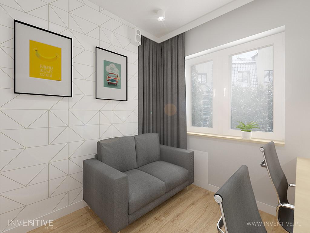 Białe biuro z małą sofą