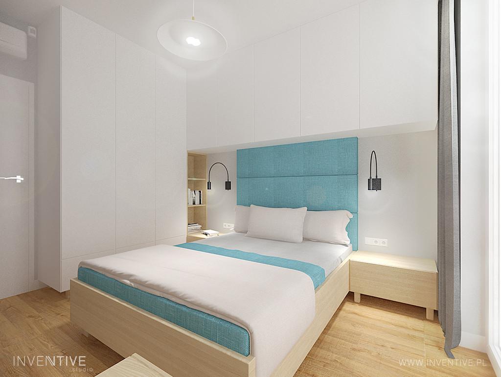 Stylowa sypialnia błękitno-biała