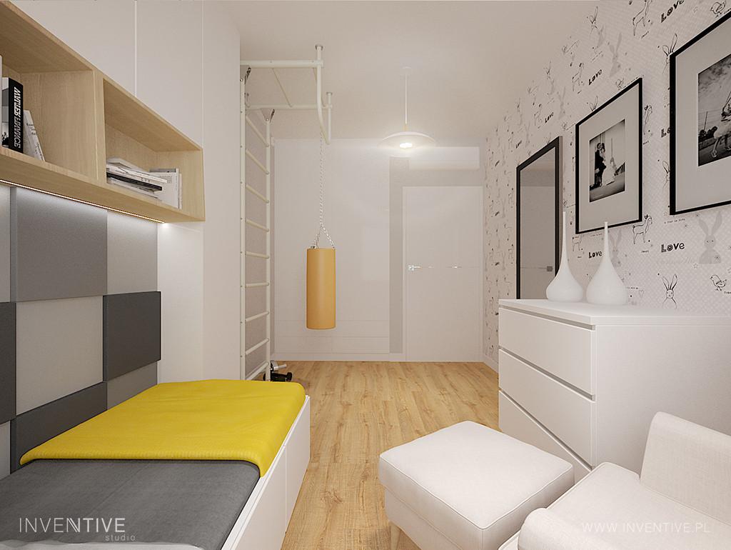 Biało-żółto-szary pokój nastolatka