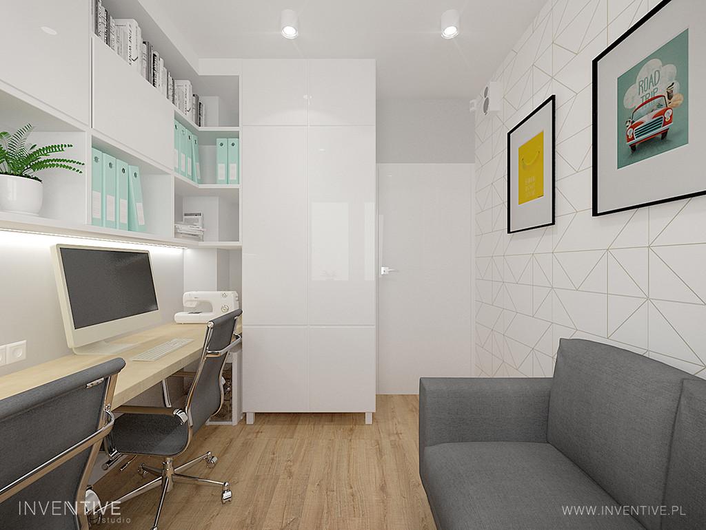 Białe, nowoczesne biuro w mieszkaniu