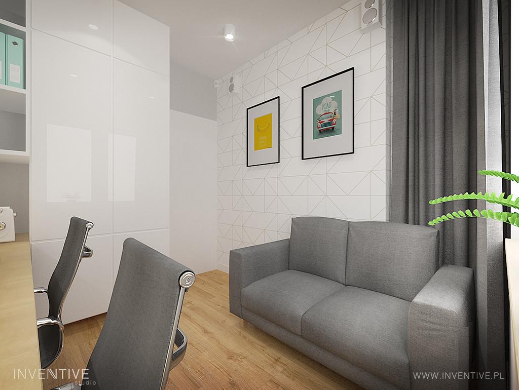 Biało-szare biuro w mieszkaniu