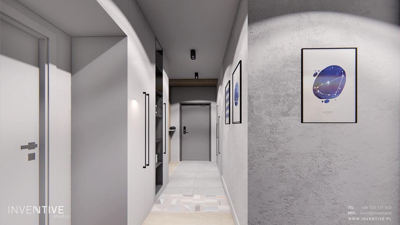 Projekt przedpokoju z szarymi ścianami