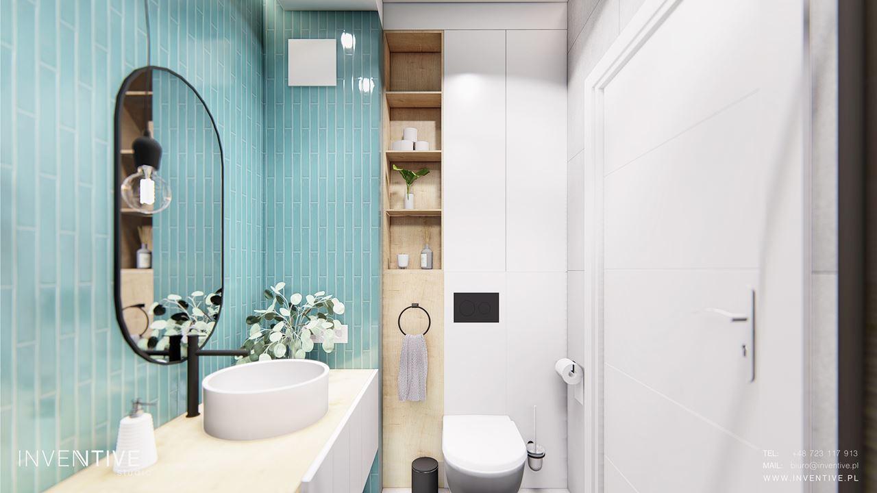 Projekt łazienki z turkusowymi płytkami
