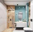 Projekt łazienki z imitacją drewnianych płytek