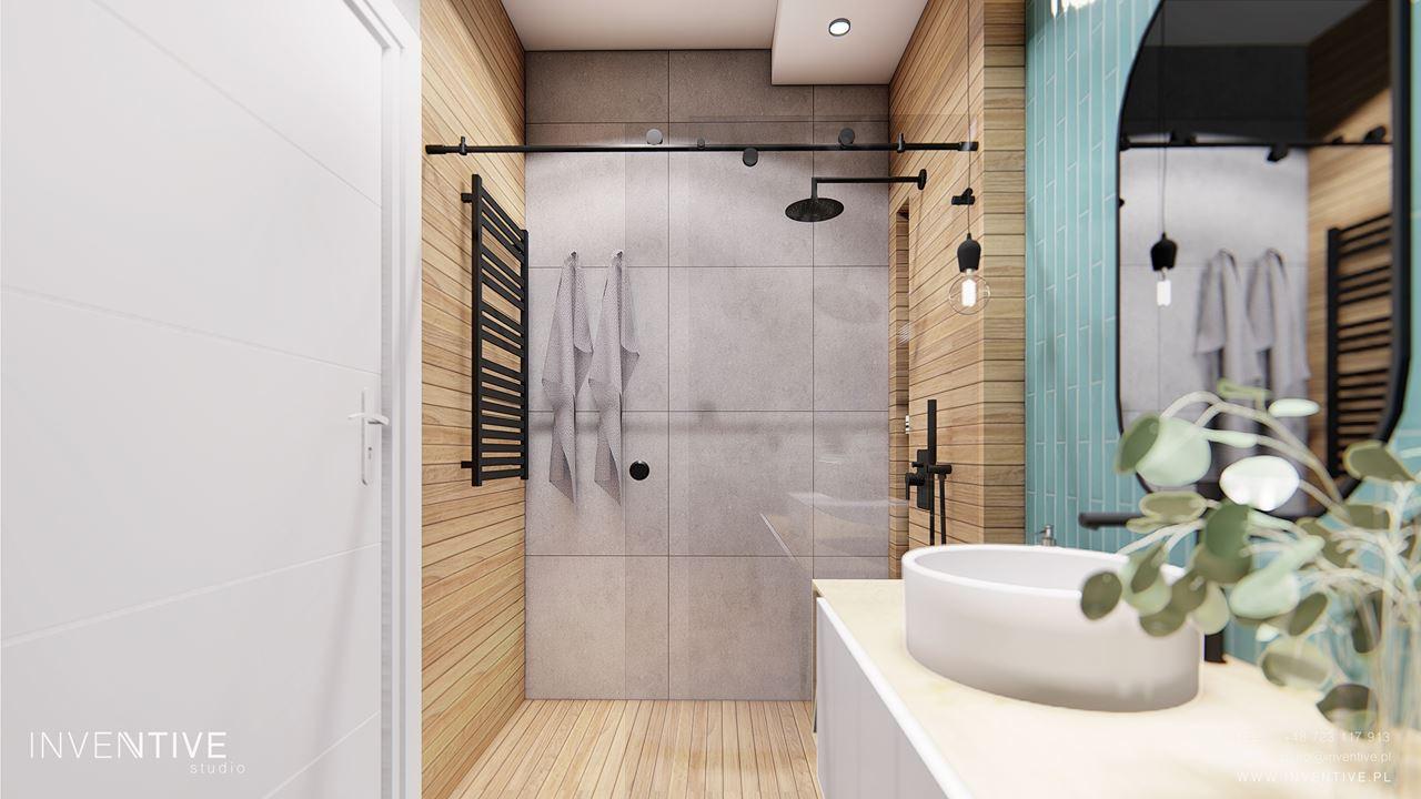 Projekt małej łazienki z imitacją drewnianych płytek