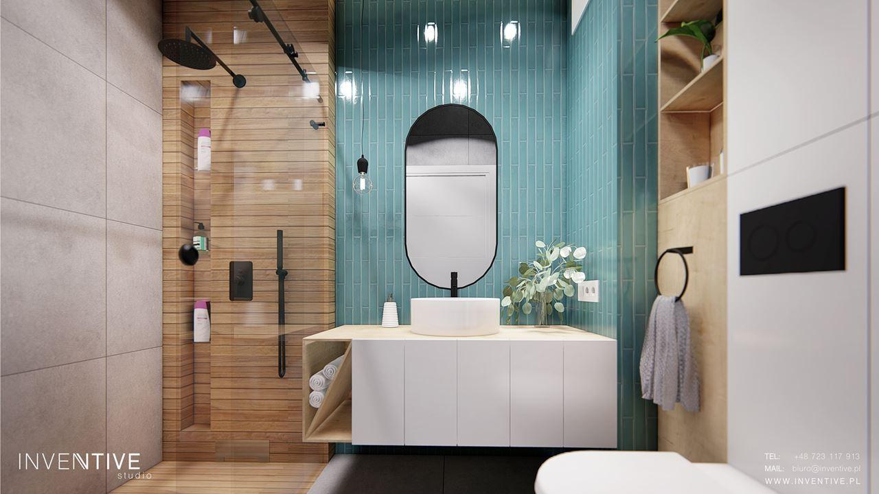 Projekt łazienki z białą szafką wiszącą