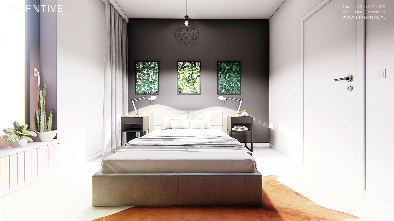 Nowoczesna sypialnia z szarą ścianą