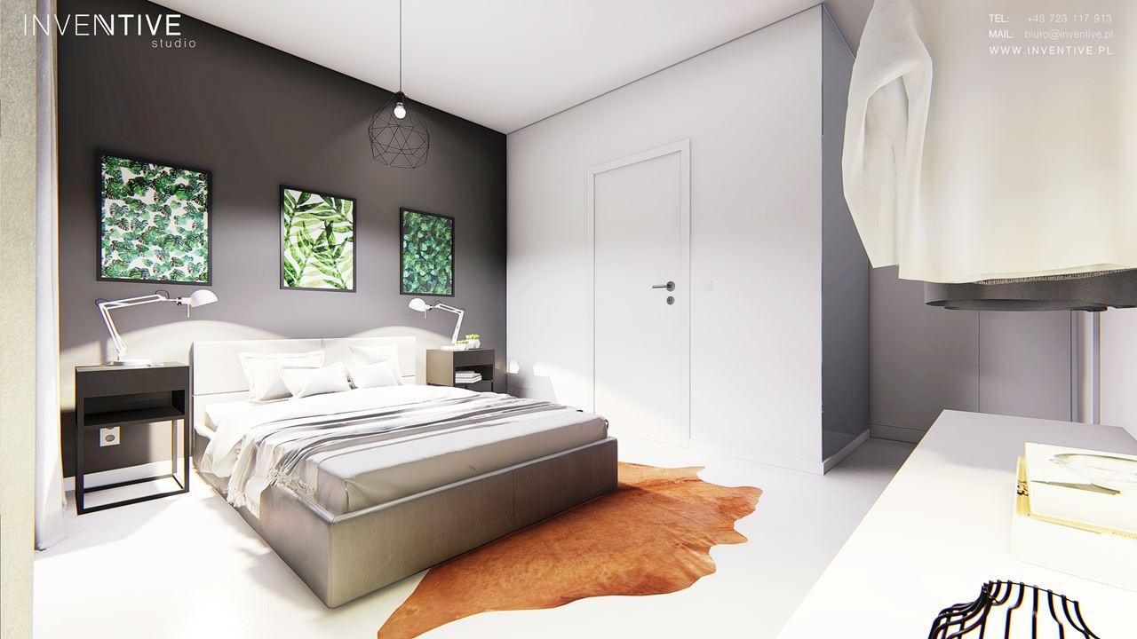 Szaro-biała sypialnia z łóżkiem z zagłówkiem
