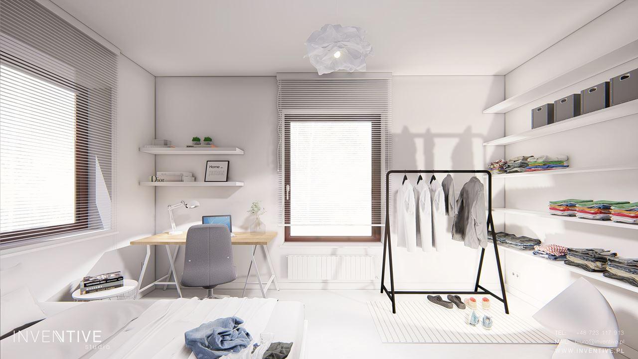 Sypialnia z otwartą garderobą i biurkiem