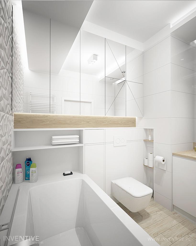 Designerska łazienka ze ścianą w geometryczne wzory