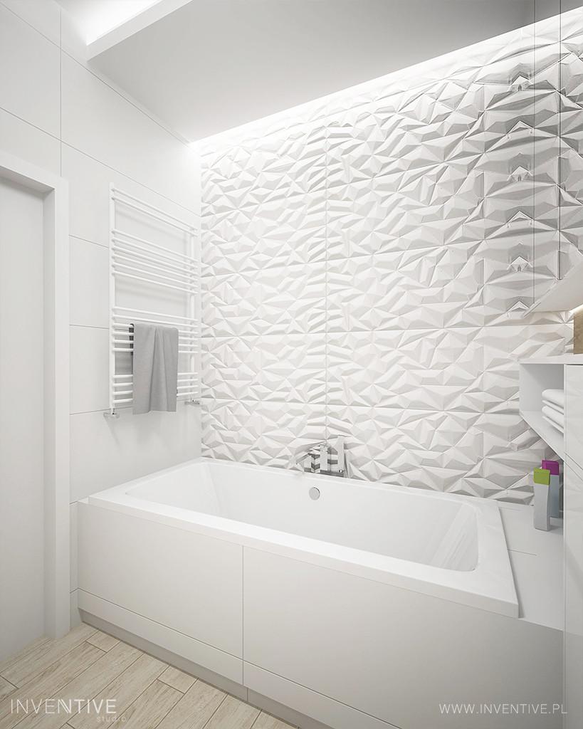 Łazienka ze ścianą 3d nad wanną