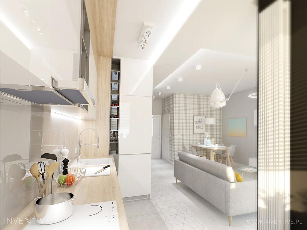 Widok na salon z kuchni