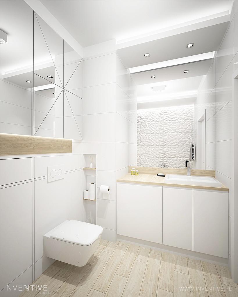Biała, nowoczesna łazienka ze ścianą 3d