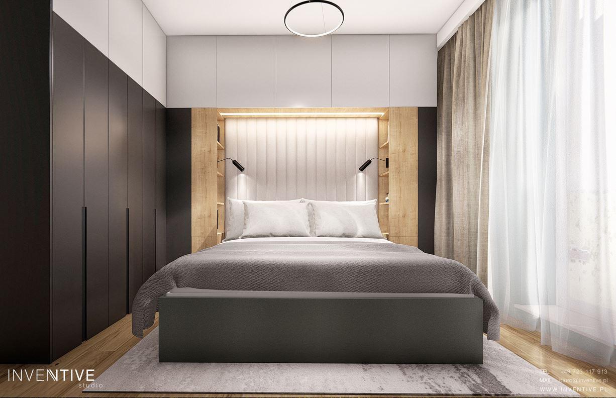Projekt sypialni z tapicerowanym łóżkiem