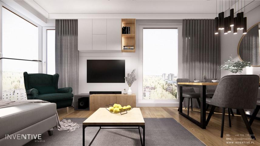 Projekt salonu ze stołami w stylu loft