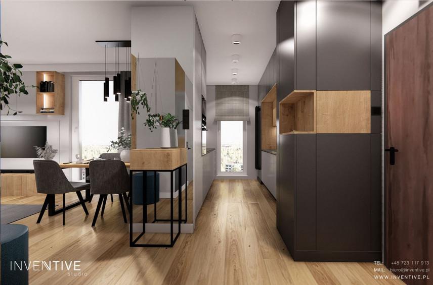 Projekt mieszkania z wąską kuchnią