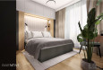 Projekt sypialni z meblami w zabudowie