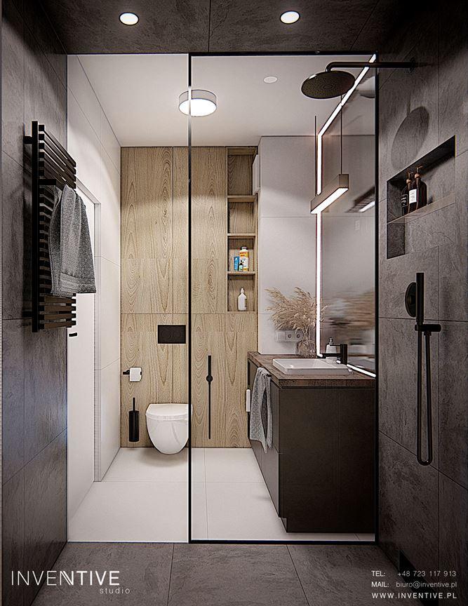 Projekt łazienki z szarymi dużymi kaflami