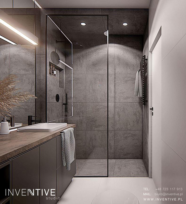 Projekt łazianki z kaflami z imitacją betonu