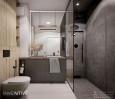 Aranżacja łazienki z szarą szafką stojącą