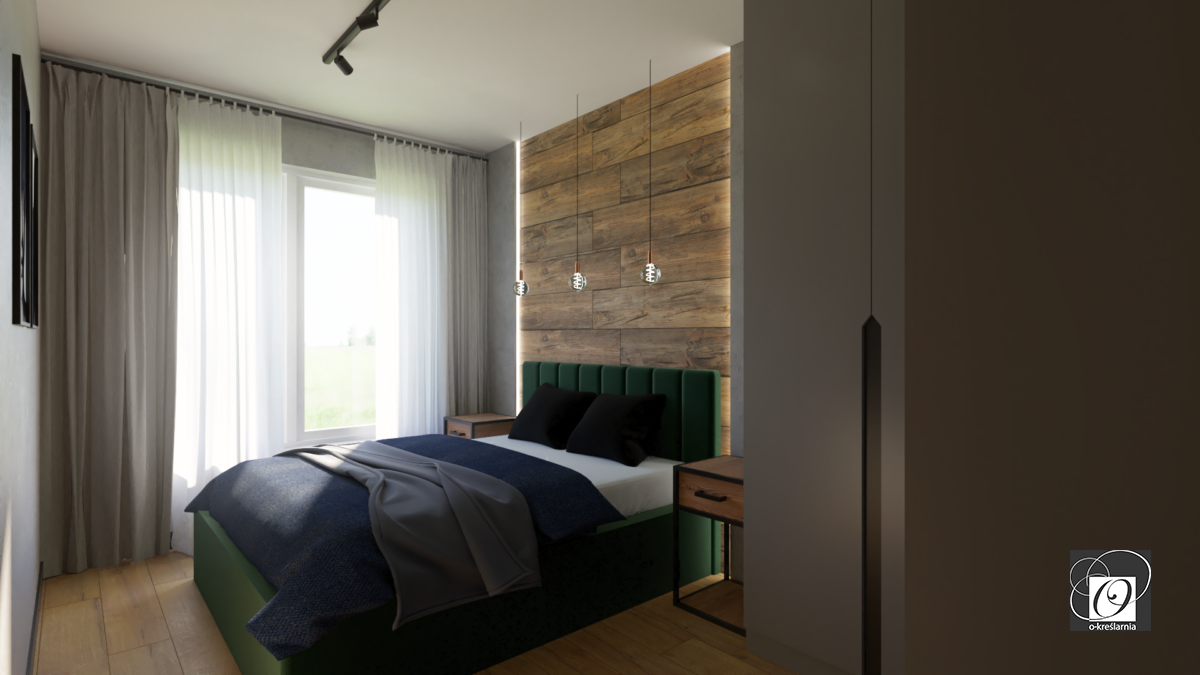 Sypialnia z zielonym łóżkiem